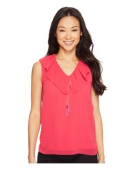 Calvin Klein | Pink Sleeveless V-neck Ruffle Collar Top | Lyst