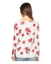 Lucky Brand Pink Open Floral Pullover Sweater