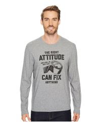 Life Is Good. Gray Attitude Fix Long Sleeve Smooth Tee for men