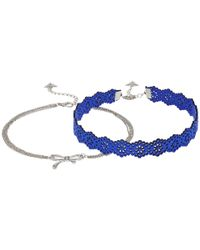 Guess | Blue Lace And Bow On Chain Choker Duo Necklace Set | Lyst