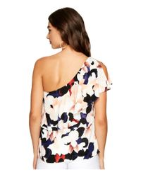 1.STATE Multicolor One Shoulder Ruffle Edge Blouse
