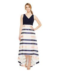 Adrianna Papell Blue Jersey Organza Stripe Dress (navy/ivory/pink) Dress