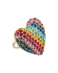 Betsey Johnson - Multicolor Pave Rainbow Heart Stretch Ring - Lyst