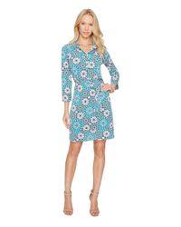 Donna Morgan Blue 3/4 Sleeve Jersey Shirtdress
