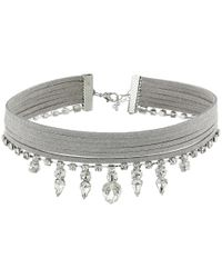 Guess | Metallic Multi Row Fabric Choker With Stone Drop Necklace | Lyst