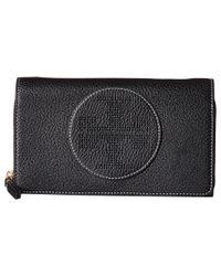 Tory Burch | Black Perforated Logo Flat Wallet Crossbody | Lyst