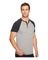 Lucky Brand Gray Short Sleeve Baseball Henley for men