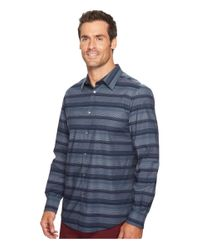 Perry Ellis Blue Wide Engineered Multi Stripe Shirt for men