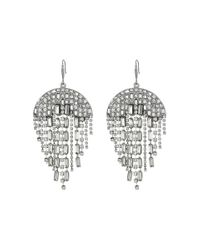 Steve Madden Metallic Semi-circle Rhinestone Chandelier Earrings