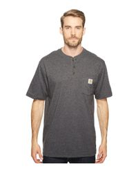Carhartt Gray Workwear Pocket S/s Henley (navy) Men's Short Sleeve Pullover for men