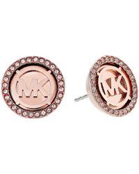Michael Kors - Multicolor Mk Monogram Logo Pave Stud Earrings (rose Gold) Earring - Lyst