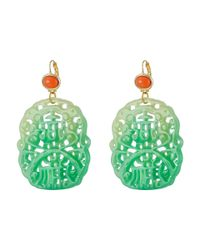 Kenneth Jay Lane - Green 7834elcj (light Coral/jade) Earring - Lyst