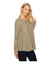 Nally & Millie - Brown Brushed Rib Pleat Back Long Sleeve Tunic - Lyst