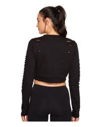 Alo Yoga Ripped Warrior Long Sleeve Top (black) Women's Long Sleeve Pullover