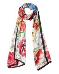 Vince Camuto Pink Blowup Flowers Oblong