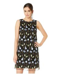 Tahari Black Embroidered Vine Motif A-line Dress