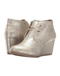 TOMS - Multicolor Desert Wedge (white Gold Metallic Synthetic Leather) Women's Wedge Shoes - Lyst