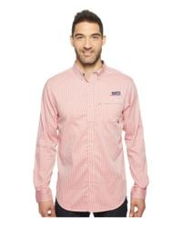 Columbia Pink Super Harborside Slim Fit Woven Long Sleeve Shirt (sunset Red Micro Gingham) Long Sleeve Button Up for men