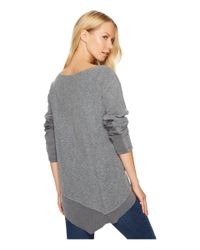 Dylan By True Grit | Gray Brushed Back Vintage Fleece Fuzzy Face V-neck Top With Rib Trim | Lyst