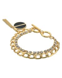 Guess Metallic Double Chain Link Toggle Bracelet With Charm And Tassel (gold/crystal/black) Bracelet