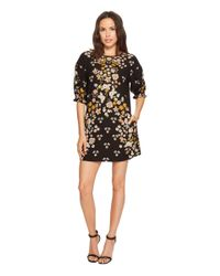 Laundry by Shelli Segal Printed Shift Dress With Blossom Short Sleeve (black) Dress