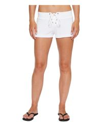 Hard Tail - White Lace Front Terry Shorts - Lyst