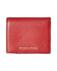 3a75b5ee2e087e MICHAEL Michael Kors Mercer Flap Card Holder in Red - Lyst