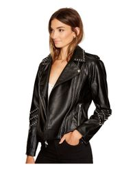 BB Dakota Jerilyn Studded Faux Leather Jacket (black) Women's Coat