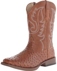 Roper - Pink Ostrich Print Square Toe Cowboy Boot for Men - Lyst