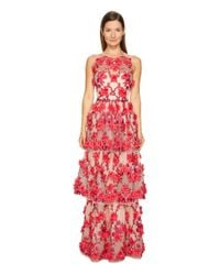 Notte by Marchesa 3d Embroidered Gown W/ Sleeveless Bodica And Two Tiered Skirt