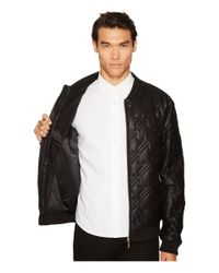 Versace Jeans Black Quilted Leather Jacket for men