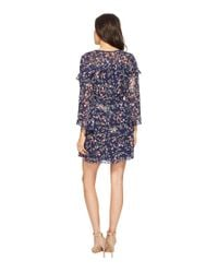 Laundry by Shelli Segal Blue Printed Chiffon Dress With Petal Sleeve And Ruffle Details (midnight) Dress