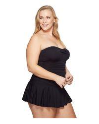 Lauren by Ralph Lauren - Plus Size Beach Club Solid Twist Skirted Underwire One-piece (black) Women's Swimsuits One Piece - Lyst