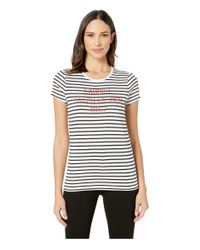 Lauren by Ralph Lauren White Logo Striped Tee
