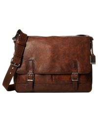Frye Oliver Messenger (dark Brown Smooth Pull-up) Messenger Bags for men