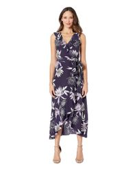 Vince Camuto Blue Printed Cdc V-neck Faux Wrap Dress (navy Multi) Women