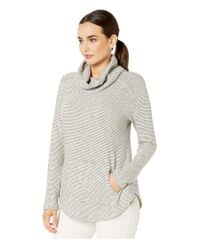 Mod-o-doc Gray Mini Zigzag Stripe Sweater Cowl Neck Tunic With Kangaroo Pocket