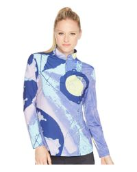 Jamie Sadock Blue Sunsense® Lightweight Eclipse Print 1/4 Zip Long Sleeve Top With 50 Spf