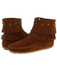 Minnetonka Brown Double Fringe Side Zip Boot (grey Suede) Women's Zip Boots