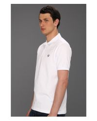 Fred Perry Slim Fit Solid Plain Polo (white) Men's Short Sleeve Pullover for men