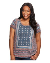 Lucky Brand Plus Size Kanta Border Tee (blue Multi) Women's Short Sleeve Pullover