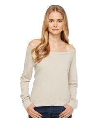 Three Dots Natural Off Shoulder Sweatshirt (beige Sand) Sweatshirt