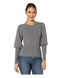 MILLY Gray Poof Sleeve Rib Pullover