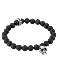King Baby Studio | Black Onyx Bead And Silver Skull Bracelet for Men | Lyst