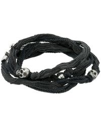 King Baby Studio - Gray Multi Wrap Charcoal Silk Bracelet With Skulls - Lyst