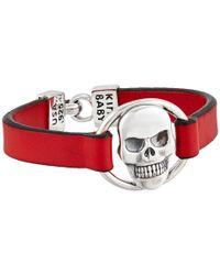 King Baby Studio | Red Skull Centerpiece Leather Strap Bracelet | Lyst