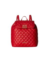 Love Moschino Leather Superquilted Fold Over In Red Lyst