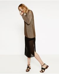 Zara | Brown Asymmetric Sweater | Lyst