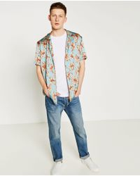 Zara Slim Fit Floral Print Shirt for Men | Lyst