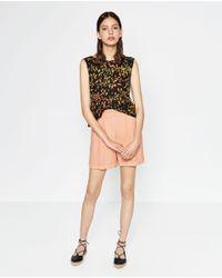 Zara | Black Batik Printed Top | Lyst